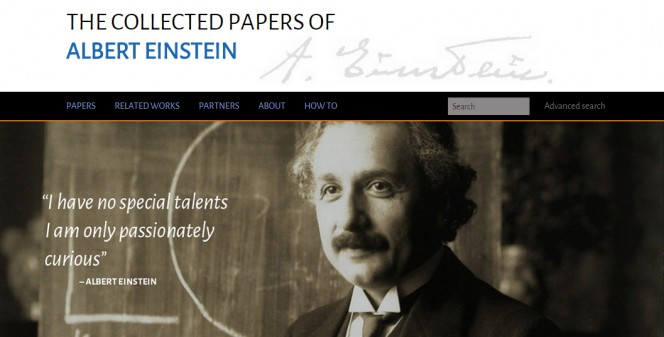 The collected papers of Albert Einstein, un progetto di Princeton University Press, Tizra e Caltech.