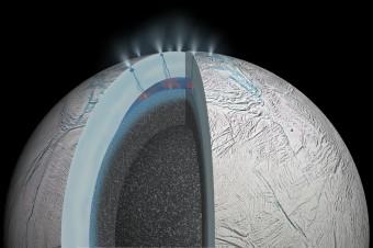 Rappresentazione artistica dell'interno di Encelado. Crediti: NASA/JPL