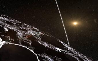 Rappresentazione artistica degli anelli intorno a Chariklo. L'origine degli anelli rimane misteriosa, ma potrebbero essere il risultato di una collisione che ha creato un disco di detriti. Crediti: ESO/L. Calçada/Nick Risinger