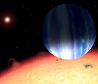 Ricostruzione artistica del sistema planetario Tau Bootis © David Aguilar / Harvard-Smithsonian Center for Astrophysics