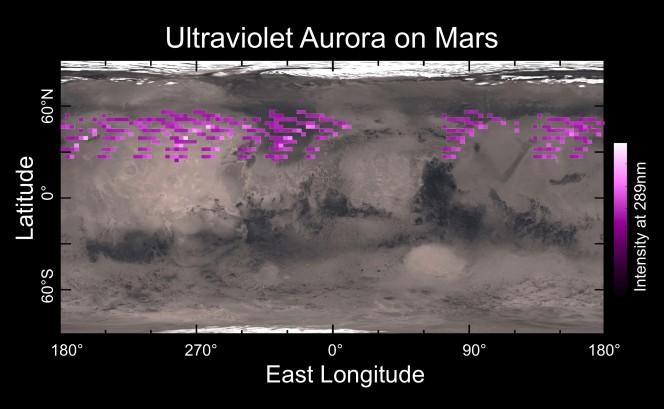 Una mappa delle emissioni dovute all'aurora osservata a dicembre scorso dallo strumento IUVS a bordo di MAVEN, sovrapposta ad una mappa di Marte. L'immagine mostra che l'aurora si è verificata in una regione molto estesa. Crediti: University of Colorado