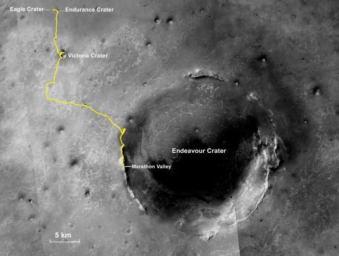 Mappa del percorso effettuato dal rover Opportunity per completare la sua maratona marziana. Crediti: NASA/JPL-Caltech/MSSS/NMMNHS