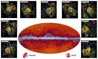In basso al centro, la mappa a tutto cielo di Planck a 545 GHz. La fascia grigia orizzontale corrisponde all'emissione della polvere della nostra Via Lattea. I puntini neri indicano invece la posizione dei candidati protoammassi. Nei riquadri tutt'attorno, alcune delle osservazioni compiute successivamente con lo strumento SPIRE di Herschel. Le curve di livello rappresentano la densità di galassie presenti nell'ammasso. Crediti: ESA and the Planck Collaboration/ H. Dole, D. Guéry & G. Hurier, IAS/University Paris-Sud/CNRS/CNES