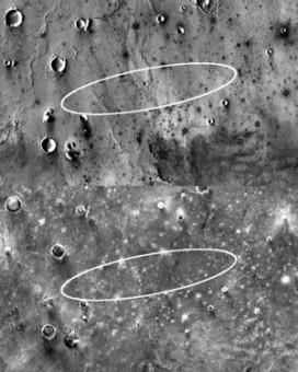 Due immagini a infrarossi scattate da THEMIS mostrano l'area ellittica di atterraggio del lander InSight di giorno (in alto) e di notte. La prima immagine mostra una pianura lavica costellata di crateri e creste. La notturna, invece, rivela zone rocciose e  brillanti perché hanno mantenuto il calore accumulato durante il giorno. Le aree coperte di polvere, comunque, si raffreddano subito dopo il tramonto, diventando fredde e scure, THEMIS è abbastanza potente da poterle fotografare. L'ellisse atterraggio misura 130 km di lunghezza per 27 km di larghezza. Crediti: NASA/JPL-Caltech/Arizona State University