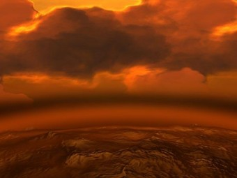 Una rappresentazione artistica delle spesse nubi di Venere. Crediti: ESA
