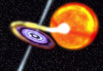 Rappresentazione artistica di un sistema LMXB (Low Mass X-ray Binary). Crediti: NASA/GSFC