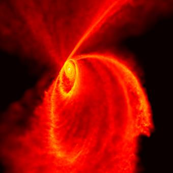 L'immagine mostra i resti di una nube molecolare disgregata dal buco nero nelle simulazioni di Michela. Il gas va a formare una serie di dischi ed anelli intorno al buco nero. E` in questi dischi che possono formarsi le nuove stelle