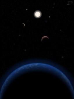 Rappresentazione del sistema di Tau Ceti. Crediti: J. Pinfield per il RoPACS network alla University of Hertfordshire, 2012