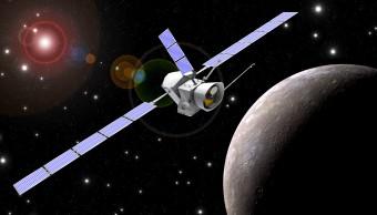 Rappresentazione artistica della sonda BepiColombo in orbita attorno a Mercurio. Crediti: ESA