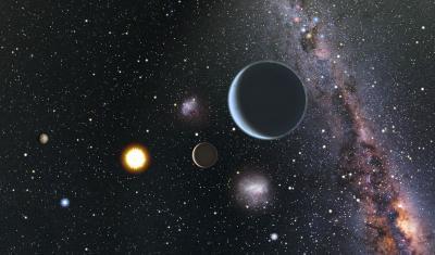 Impressione artistica del sistema planetario in orbita attorno ad HD 7924 guardando in direzione del nostro Sole, facilmente visibile ad occhio nudo. Poiché HD 7924 si trova nel nostro cielo boreale, un osservatore nella sua posizione vedrebbe oggetti come la Croce del Sud e le Nubi di Magellano prospetticamente vicini al Sole. Crediti: Karen Teramura e BJ Fulton, Università delle Hawaii, Istituto di Astronomia