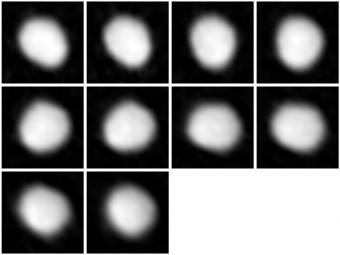 Serie di immagini dell'asteroide Giunone ottenute da ALMA durante la Long Baseline Campaign. Crediti: ALMA (NRAO/ESO/NAOJ)