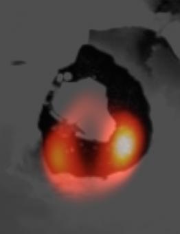 Immagine presa da LBT della patera del vulcano Loki su Io (in arancione)  sovrapposta a quella della depressione di origine vulcanica ottenuta dalle sonde Voyager. Crediti: LBTO-NASA