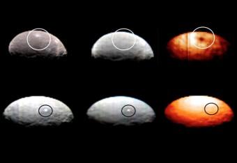 Tre immagini a diverse lunghezze d'onda, realizzate dai dati di VIR per lo Spot 1 (in alto) e lo Spot 5 (in basso) di Cerere.  Crediti: NASA/JPL-Caltech/UCLA/ASI/INAF