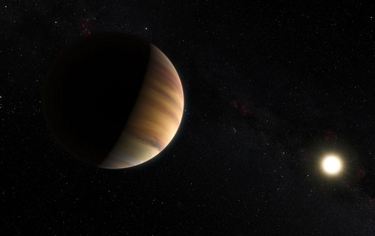 """Questa visione artistica mostra l'esopianeta 51 Pegasi b, un """"Giove caldo"""", a volte chiamato anche Bellerofonte, in orbita intorno a una stella a circa 50 anni luce dalla Terra nella costellazione settentrionale di Pegaso. È il primo esopianeta scoperto intorno a una stella normale, nel 1995. Vent'anni dopo, questo oggetto è anche il primo esopianeta di cui si osserva direttamente lo spettro in luce visibile. Crediti: ESO/M. Kornmesser/Nick Risinger (skysurvey.org)"""
