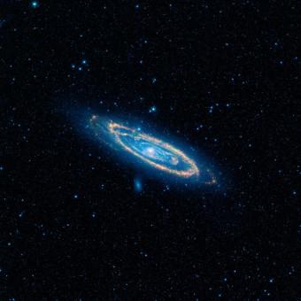 La galassia di Andromeda vista con gli occhi del telescopio spaziale NASA WISE. In colore arancione sono evidenziate le emissioni calde delle stelle che popolano le braccia a spirale della galassia. Immagini come questa sono servite al team di G-HAT per scansire il vicino universo in cerca di anomalie nell'emissione del medio infrarosso. Crediti: NASA / JPL-Caltech / WISE team.