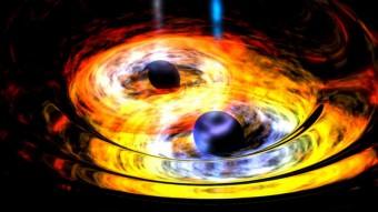 Rappresentazione artistica di una coppia di buchi neri interagenti. Crediti: NASA