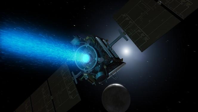 La sonda spaziale Dawn in avvicinamento a Cerere, in una rappresentazione artistica. Crediti: NASA / JPL.