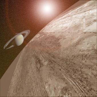 Il suolo di Titano con Saturno all'orizzonte. Crediti: Antoine Lucas / NASA