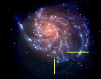 La galassia M101 osservata dal telescopio spaziale Swift, con l'emissione ultravioletta rappresentata in blu e quella ottica in rosso. Evidenziata dalle barre gialle, la supernova SN 2011fe. Crediti: NASA/Swift