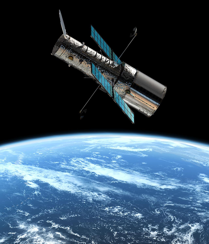 Rappresentazione artistica del telescopio spaziale NASA/ESA Hubble in orbita attorno alla Terra a circa 600 km di altezza. Crediti: ESA