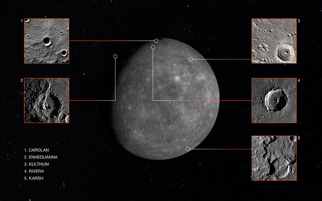 Nell'immagine potete vedere il pianeta Mercurio e i cinque crateri appena rinominati.