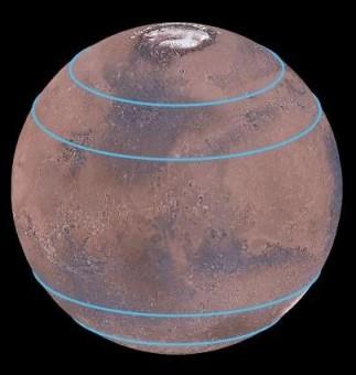 Le linee blu indicano le zone dove sono stati individuati importanti accumuli di ghiaccio d'acqua, coperti da uno spesso strato di polvere. Crediti: Mars Digital Image Model, NASA/Nanna Karlsson