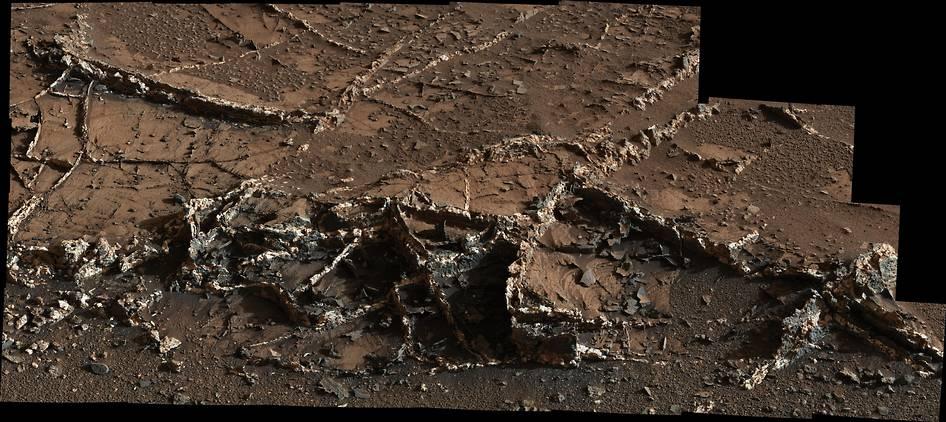 Questa immagine è stata scattata dalla Mast Camera di Curiosity lo scorso 18 marzo e mostra una serie di venature sulla superficie dell'area chiamata Garden City, ai piedi del Monte Sharp. Crediti: NASA/JPL-Caltech/MSSS