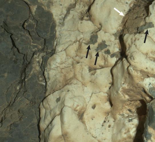 Questa immagine è stata scattata lo scorso 25 marzo con il Mars Hand Lens Imager (MAHLI) montato sul braccio robotico di Curiosity. Mostra proprio il sito Garden City. Crediti: NASA / JPL-Caltech / MSSS