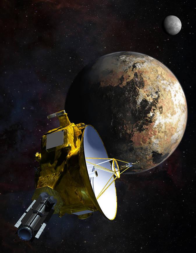 Rappresentazione artisitica di New Horizons e Plutone. Crediti: NASA/JHU APL/SwRI/Steve Gribben