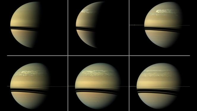 Una gigantesca tempesta si sviluppa sull'emisfero settentrionale di Saturno, nella serie di immagini raccolte dalla sonda NASA Cassini. Crediti: NASA / JPL-Caltech / SSI.