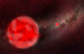 rappresentazione artistica di stelle giganti rosse nella nostra galassia. Crediti: AIP/ J. Fohlmeister