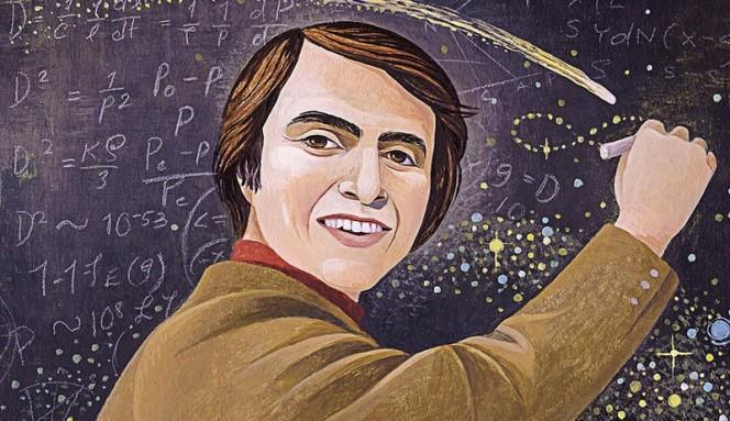 Carl Sagan, nel ritratto di un fumettista.