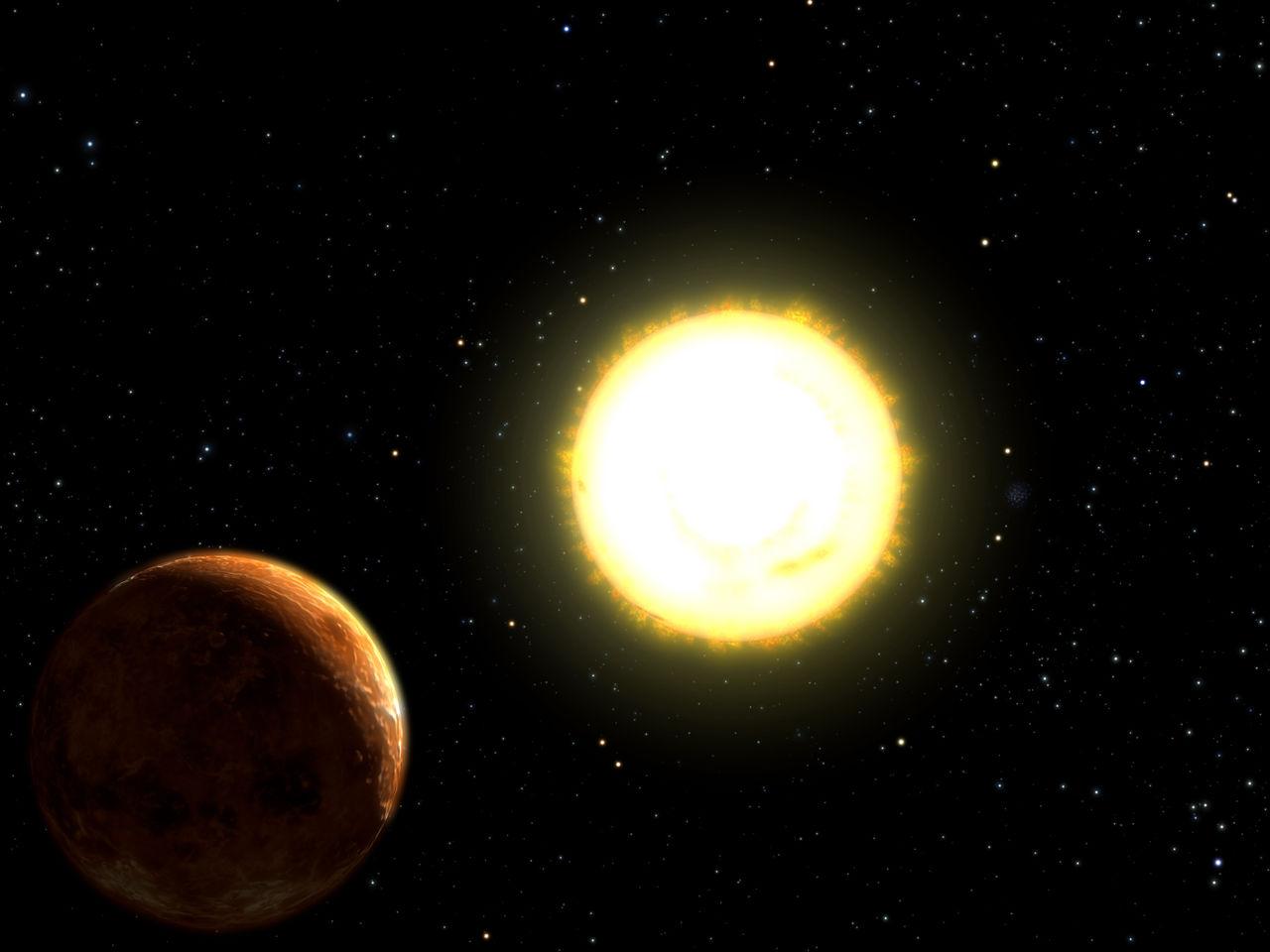 55 Cancri e la sua stella madre. Crediti: U. Texas, NSF, NASA