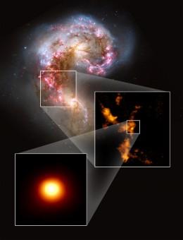 Le galassie Antenne riprese dal Telescopio Spaziale Hubble nel visibile (sopra) sono state osservate con ALMA, rivelando ampie nubi di gas molecolare (riquadro centrale). Una di queste nubi (riquadro inferiore), incredibilmente densa e massiccia, non presenta segni di stelle. Credit: NASA/ESA Hubble, B. Whitmore (STScI); K. Johnson, U.Va.; ALMA (NRAO/ESO/NAOJ); B. Saxton (NRAO/AUI/NSF)