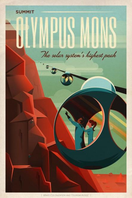Teleferica per l'Olympus Mons, la vetta più alta del Sistema Solare. Crediti: SpaceX.