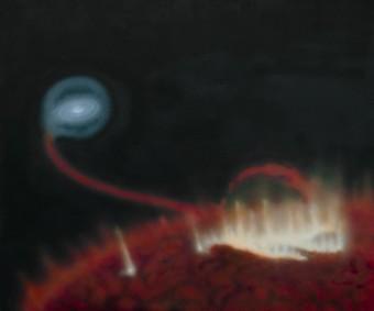 Rappresentazione artictica del flare emesso dalla gigante rossa MIRA A. Crediti Katja Lindblom, CC BY-NC-ND 4.0