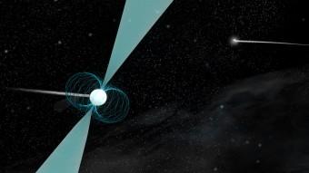 Rappresentazione della pulsar PSR J1930-1852 in orbita attorno a una stella di neutroni compagna. Crediti: B. Saxton (NRAO/AUI/NSF)
