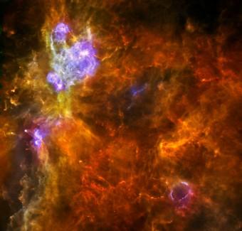 Questa immagine ottenuta dall'Osservatorio spaziale Herschel mostra W3, una gigantesca zona di formazione stellare nella nostra galassia. Crediti: ESA/PACS & SPIRE consortia, A. Rivera-Ingraham & P.G. Martin, Univ. Toronto, HOBYS Key Programme (F. Motte)