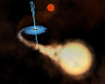Rappresentazione artistica del sistema triplo  4U 1630-472. L'immagine originale di un sistema binario X crediti ESA/NASA) è stata elaborata da M. Galliani