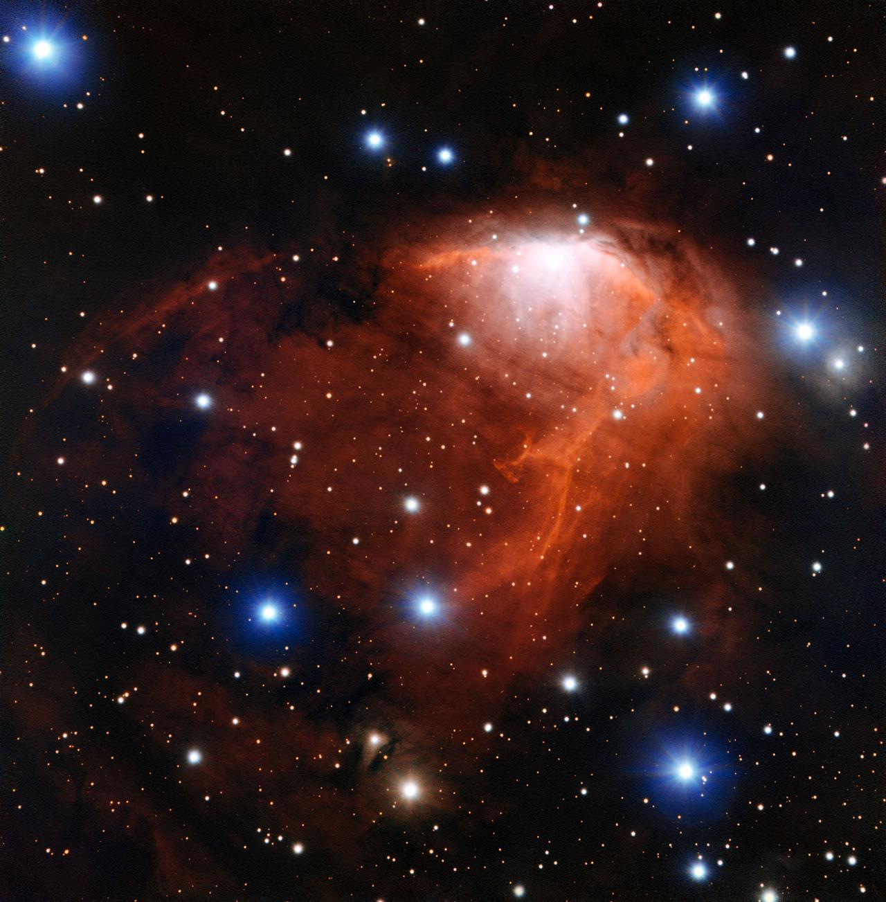 La nebulosa nota come RCW 34 fotografata dallo strumento using the FORS del Very Large Telescope in Cile. Crediti: ESO
