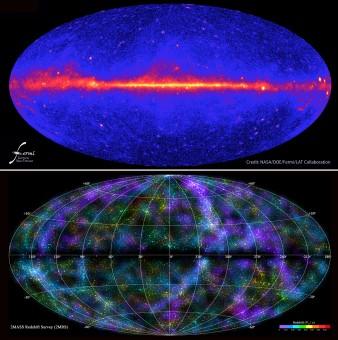 In alto, il cielo gamma osservato da Fermi della NASA. In basso, una delle mappe a tutto cielo della survey 2MASS
