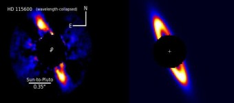A sx il brillante anello di detriti che circonda HD 115600 visto quasi di taglio e collocata ad una distanza simile di quella di Plutone rispetto al Sole. A dx un modello del disco con le stesse dimensioni. Crediti: T. Currie - See more at: http://www.cam.ac.uk/research/news/discovery-shows-what-the-solar-system-looked-like-as-a-toddler#sthash.unJEpsxi.dpuf