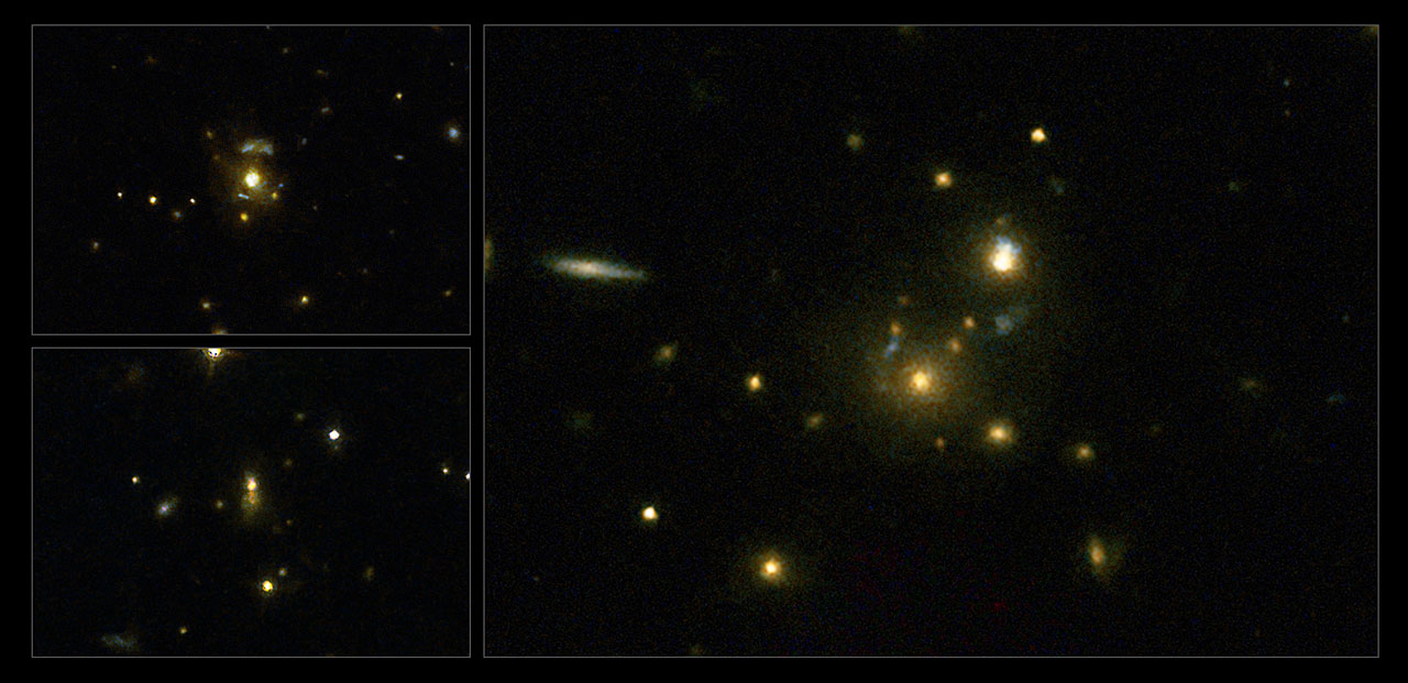 This image taken with the NASA/ESA Hubble Space Telescope shows a selection of galaxies used in a survey to confirm the link between mergers and high-speed jets from supermassive black holes. These galaxies have very strong emissions at radio wavelengths, implying that the supermassive black holes they host are feeding huge outflows of plasma. On the left (top to bottom) are the galaxies 3C 297 and 3C 454.1, on the right is 3C 356. Crediti: NASA, ESA, M. Chiaberge (STScI)