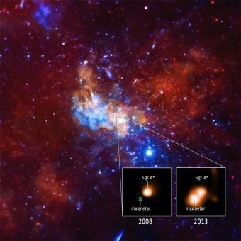La zona del centro della Via Lattea dove è stato scoperto SGR 1745-2900. Nei riquadri, le osservazioni della sorgente nel 2008 e nel 2013. Crediti: NASA