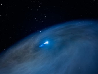 Questa impressione artistica rivela un ampio disco di gas che circonda una stella di Wolf-Rayet (mostrata al centro). Una stella compagna sta attirando a sé gli strati esterni della Wolf-Rayet, come mostra il ponte di materiale brillante che collega le due stelle. Questo atto di cannibalismo stellare espone il nucleo di elio della stella massiccia. Parte del materiale, tuttavia, si disperde nello spazio formando unu enorme disco. Questa struttura a disco non è mai stata osservata prima d'ora intorno ad una stella Wolf-Rayet. Crediti: NASA, ESA e G. Bacon (STScI)