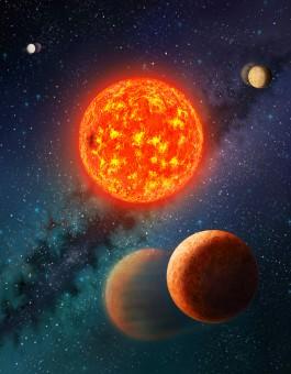 Rappresentazione artistica del sistema planetario che ospita Kepler-138 b, il primo fra gli esopianeti più piccoli della Terra del quale siano state misurate massa e dimensioni. Crediti: Danielle Futselaar, SETI Institute