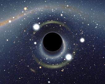"""Vista simulata di un buco nero """"vicino casa"""". Crediti: Alain Riazuelo (CNRS), 2008."""