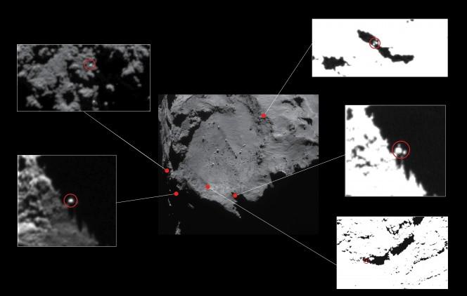 Posizioni approssimative dei cinque candidati per il lander, inizialmente identificati con le immagini ad alta risoluzione della camera ad angolo stretto di OSIRIS raccolte nel dicembre 2014 da una distanza di circa 20 km dalla cometa 67P. I candidati sono indicati con cerchi rossi nei primi piani, e corrispondono ad oggetti di dimensioni pari a 1-2 metri di diametro. Il contrasto è stato forzato in alcune delle immagini per mostrare meglio i candidati. Tutti tranne uno di questi candidati (quello in alto a sinistra) sono stati successivamente esclusi per vincoli quali la traiettoria ricostruita e la topografia del sito di atterraggio. Il candidato in alto a sinistra si trova vicino all'attuale ellisse di CONSERT. Crediti: Immagine centrale: ESA/Rosetta/NAVCAM – CC BY-SA IGO 3.0; inserti: ESA/Rosetta/MPS per il team OSIRIS MPS/UPD/LAM/IAA/SSO/INTA/UPM/DASP/IDA