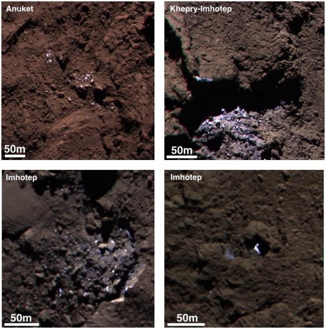 Esempi di zone ghiacciate visibili sulla cometa 67P / Churyumov-Gerasimenko nel settembre 2014. Le due immagini a sinistra sono state scattate da OSIRIS il 5 settembre; le immagini a destra risalgono al 16 settembre. Durante questo periodo la sonda era a circa 30-40 km dal centro cometa. Crediti: ESA/Rosetta/MPS for OSIRIS Team MPS/UPD/LAM/IAA/SSO/INTA/UPM/DASP/IDA