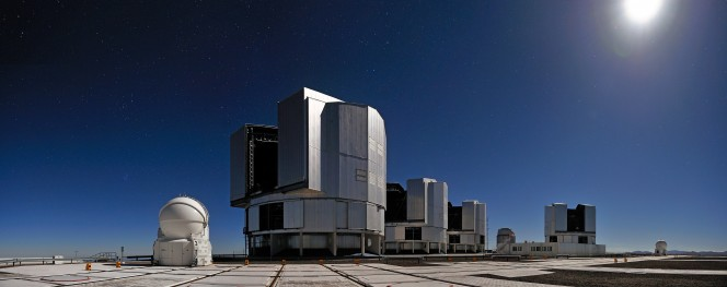 Le quattro unità del Very Large Telescope (VLT) all'Osservatorio del Paranal in Cile. Crediti: ESO Photo Ambassador website